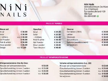 Nini Nails prijslijst